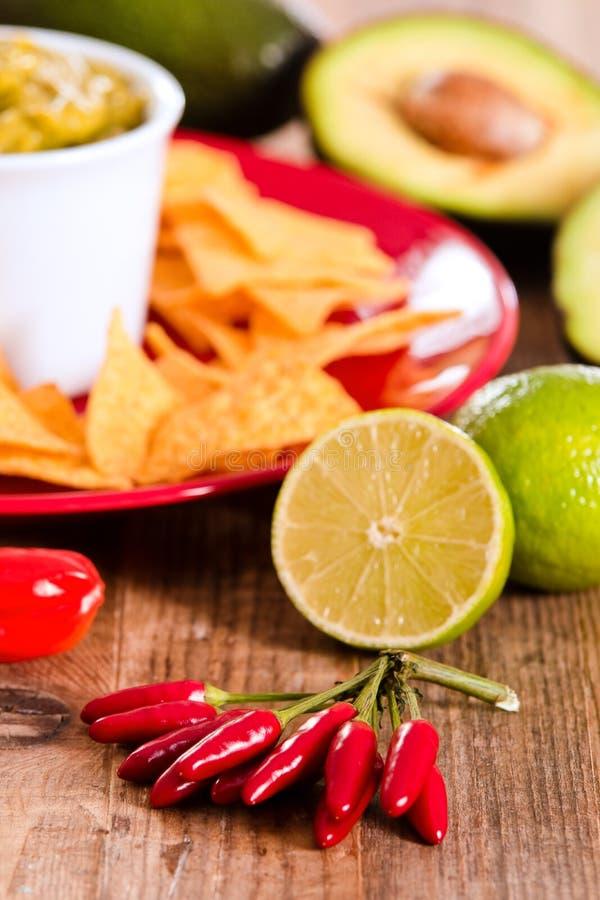откалывает nacho guacamole стоковые изображения rf