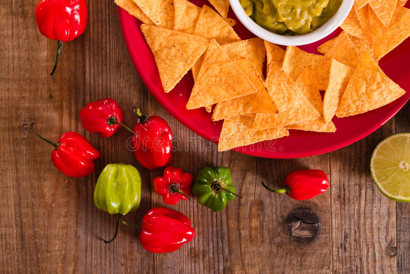 откалывает nacho guacamole стоковые изображения