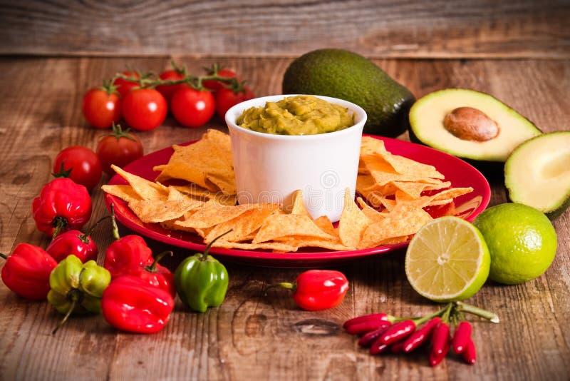 откалывает nacho guacamole стоковое фото