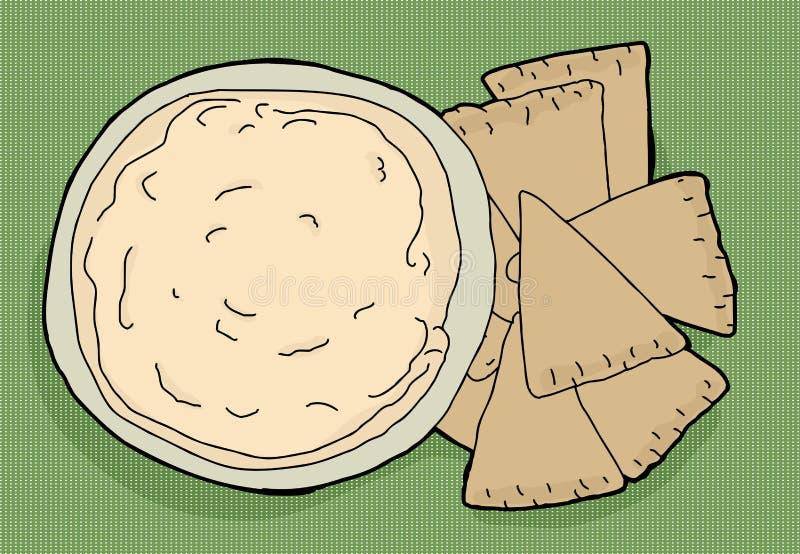 откалывает pita hummus бесплатная иллюстрация