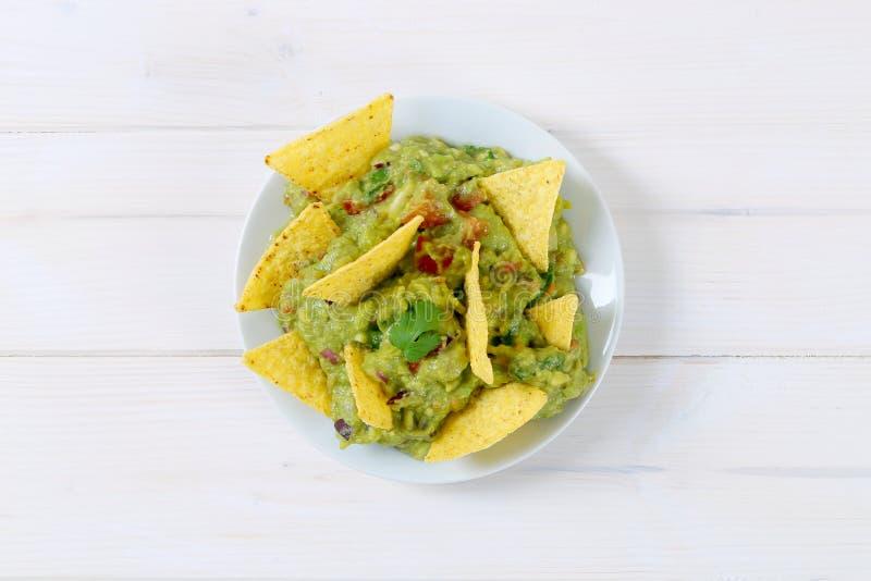 откалывает tortilla guacamole стоковое фото