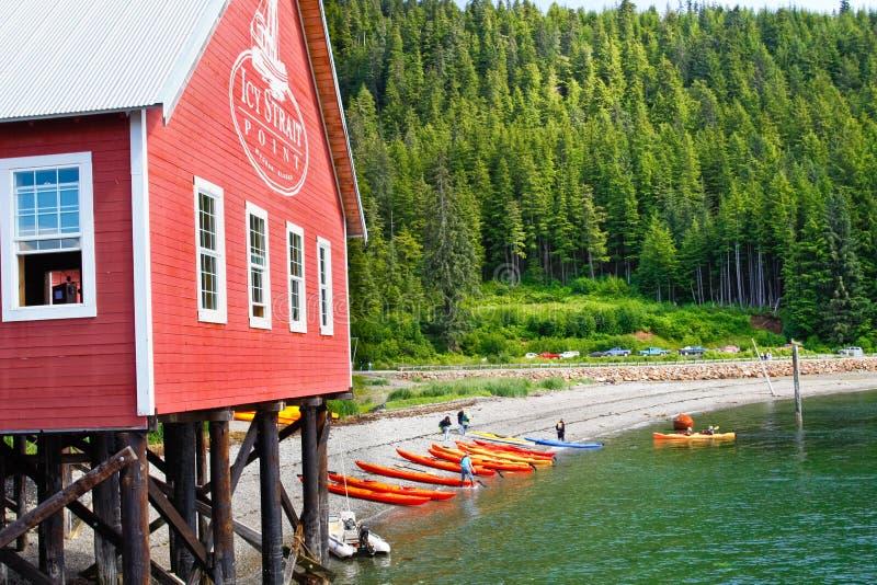 Отклонение каяка пункта пролива Аляски ледистое стоковые фото