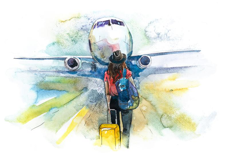 отклонение Самолет восхождения на борт путешественника женщины, вид сзади Девушка на авиапорте около для восхождения на борт возд бесплатная иллюстрация