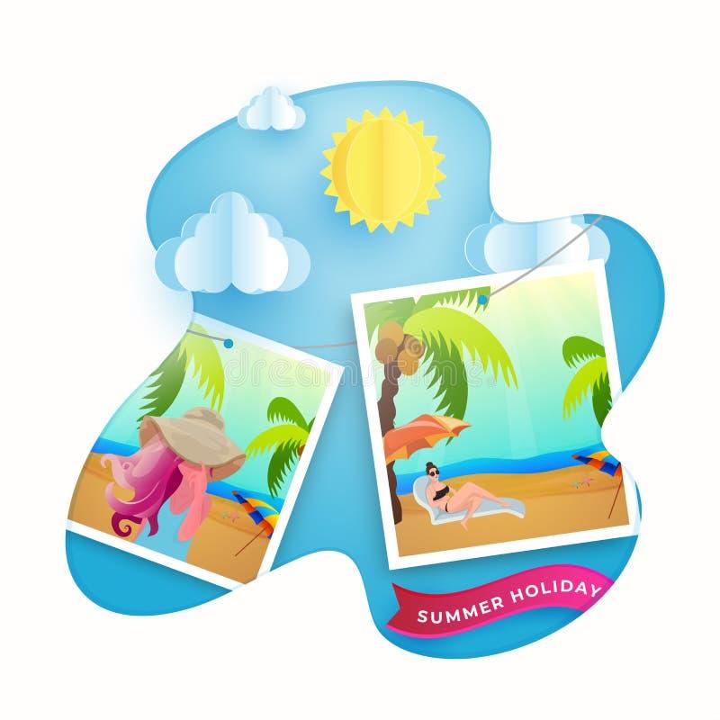 Отключение лета наслаждаясь женскими фото с солнцем и бумажными облаками для шаблона летнего отпуска иллюстрация штока