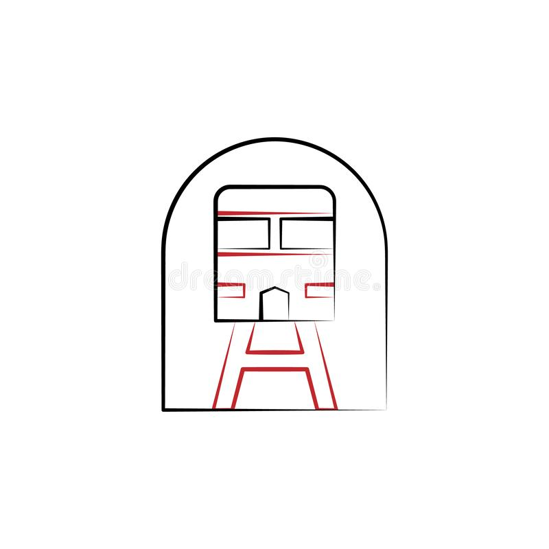 Отключение Нового Года, линия значок поезда 2 покрашенная Иллюстрация элемента цвета простой руки вычерченная дизайн символа план иллюстрация вектора