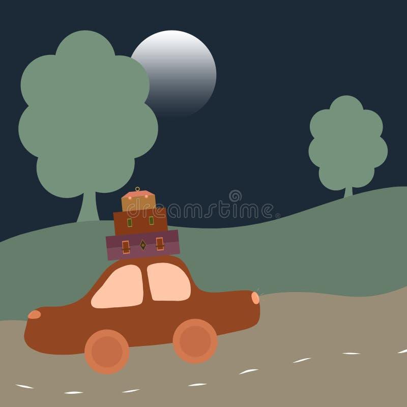 Отключение ночи, каникулы, автомобиль с много багажом иллюстрация штока