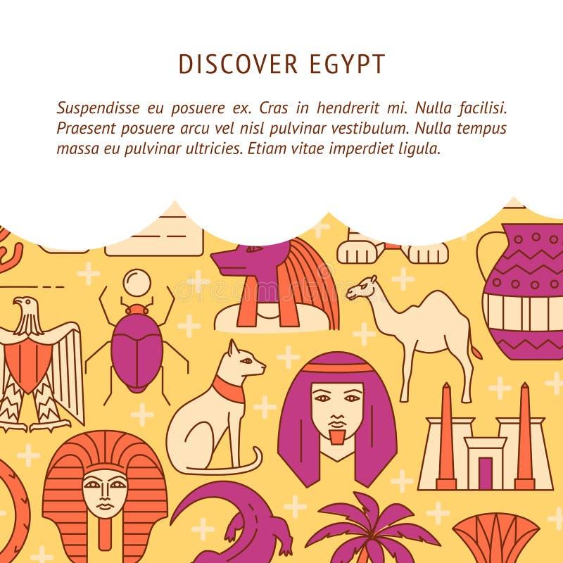 Откройте предпосылку концепции Египта в покрашенной линии стиле иллюстрация вектора