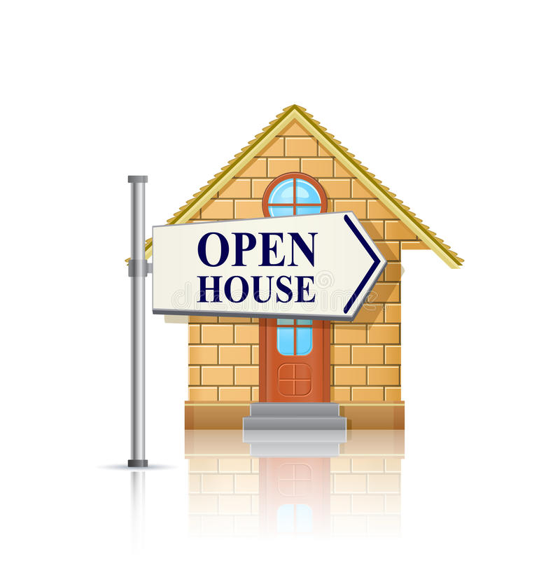 Открытая дом для сбывания с белым знаком недвижимости иллюстрация штока