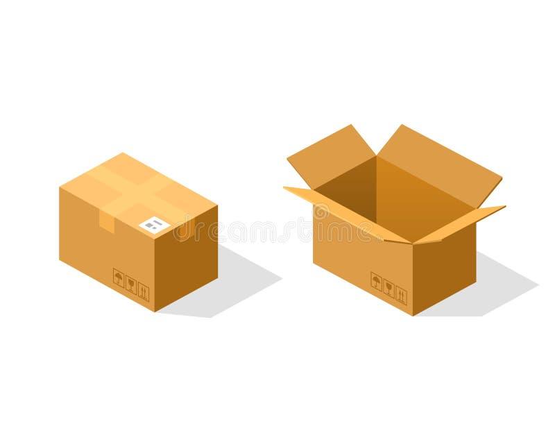 Открытая и закрытая бумажная коробка равновеликая иллюстрация вектора