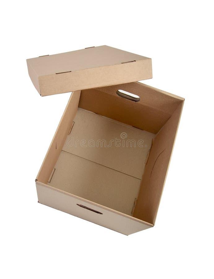 Открытая картонная коробка на белизне стоковая фотография