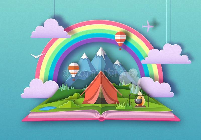 Открытая книга сказки с ландшафтом и располагаться лагерем гор r иллюстрация штока