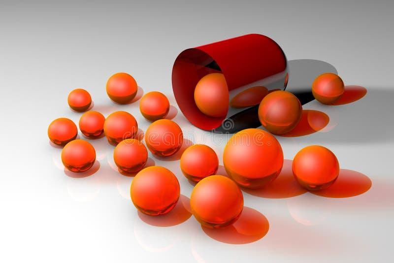 Открытая красная капсула с оранжевыми целебными зернами Аптека фармации Антибиотическая капсула Probiotic капсула Витамин и иллюстрация штока