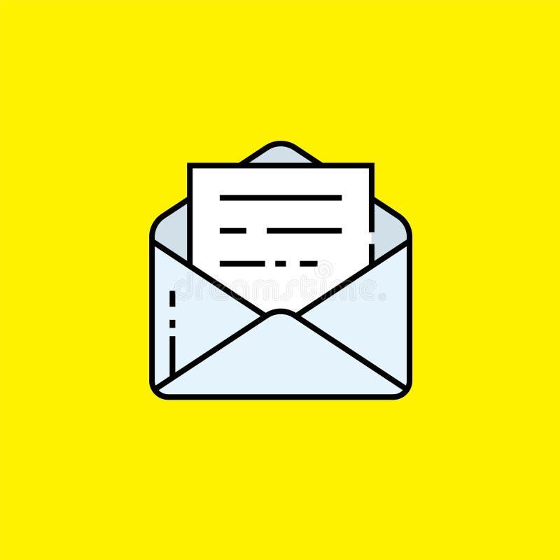 Открытая линия сообщения значок электронной почты иллюстрация штока