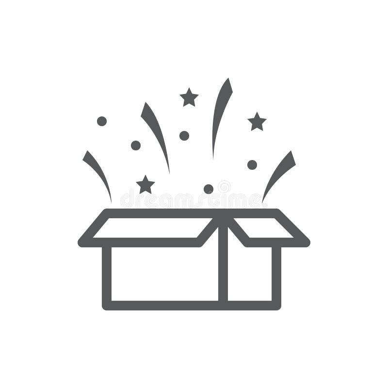 Открытая подарочная коробка с confetti летания - концепцией сюрприза в линии значке пиксела идеальной тонкой с editable ходом иллюстрация штока