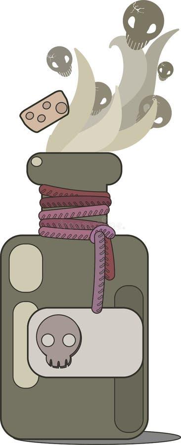 Открытая пробирка отравы Ярлык и пробочка черепа Зелье испаряется, черепа разбрасывает бесплатная иллюстрация