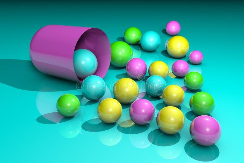 Открытая розовая капсула с красочными целебными зернами Аптека фармации Антибиотическая капсула Probiotic капсула витамин бесплатная иллюстрация
