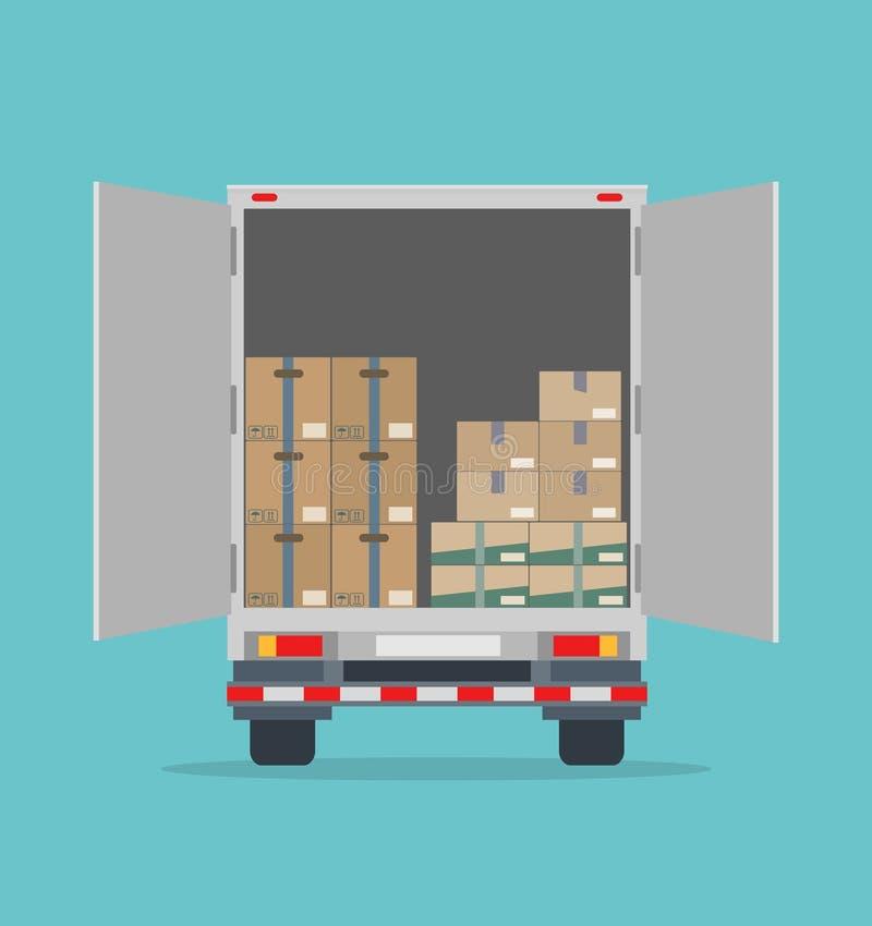Открытая тележка доставки с картонными коробками Изолировано на голубой предпосылке иллюстрация вектора