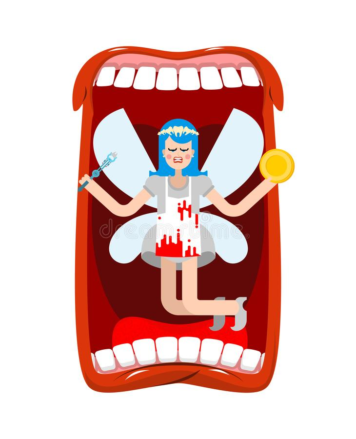 Открытая фея рта и зуба Обмен монетки для зуба иллюстрация вектора