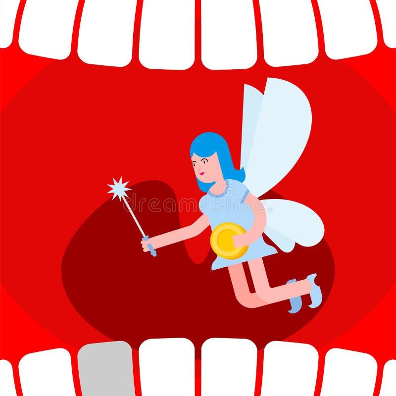 Открытая фея рта и зуба Обмен монетки для зуба бесплатная иллюстрация