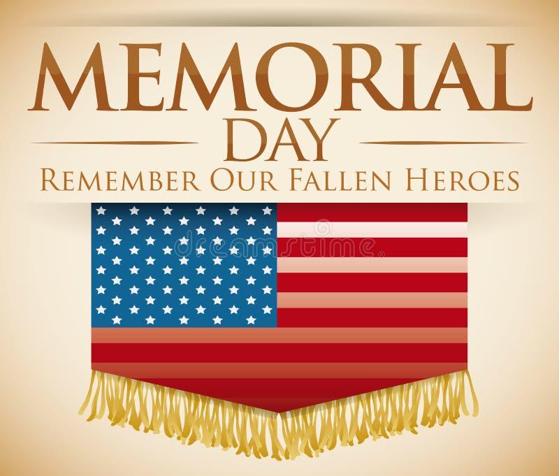 Открытка в почетности для павших героев в Дне памяти погибших в войнах, иллюстрации вектора бесплатная иллюстрация
