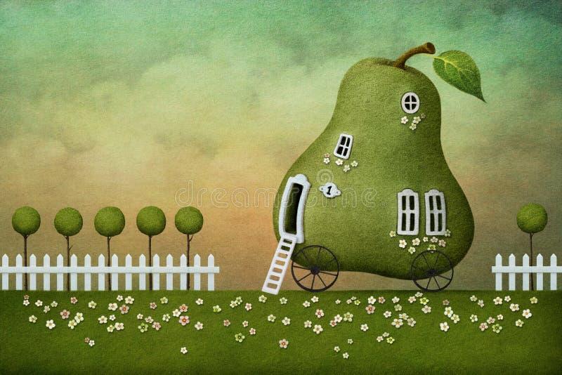 открытка груши дома иллюстрация штока