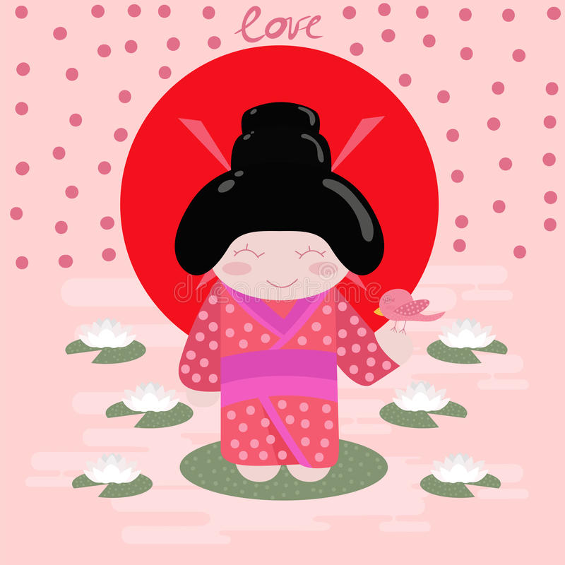 Открытка детей с японской гейшей в кимоно, в солнце иллюстрация вектора