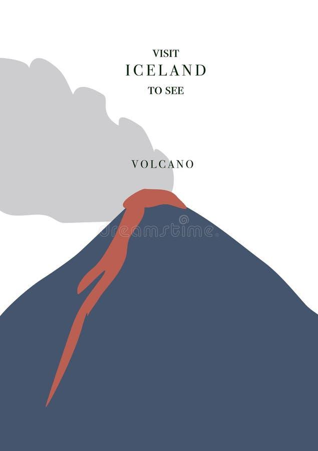 Открытка Исландии приглашая Действующий вулкан с красными магмой и дымом, простым плоским дизайном иллюстрация штока