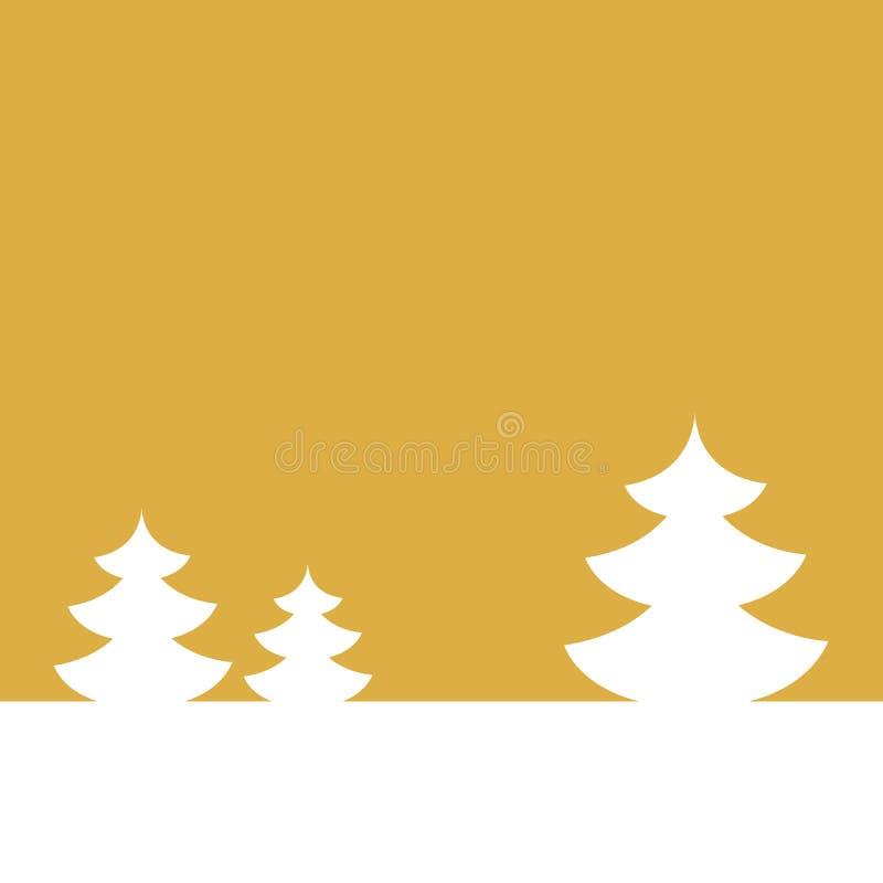 Download Открытка на счастливый Новый Год зима вала ландшафта ели Белая ель на предпосылке золота также вектор иллюстрации притяжки Corel Иллюстрация штока - иллюстрации насчитывающей накалять, отпразднуйте: 81813517