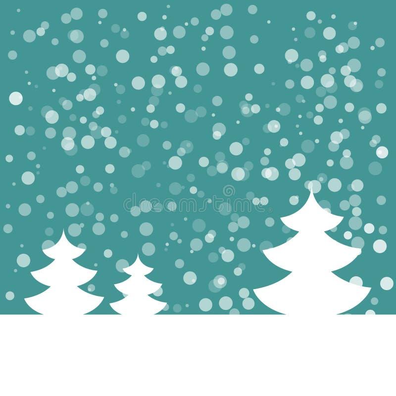 Download Открытка на счастливый Новый Год Ландшафт с елью с снежинками Белая ель на синей предпосылке также вектор иллюстрации притяжки Co Иллюстрация штока - иллюстрации насчитывающей форма, силуэт: 81813520