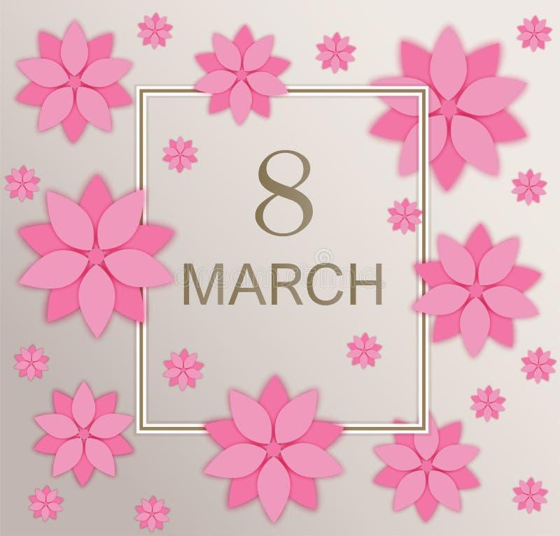 Открытка приветствию дня счастливых женщин праздника, приветствуя карту 8-ое марта с розовой цветками cutted бумагой иллюстрация вектора