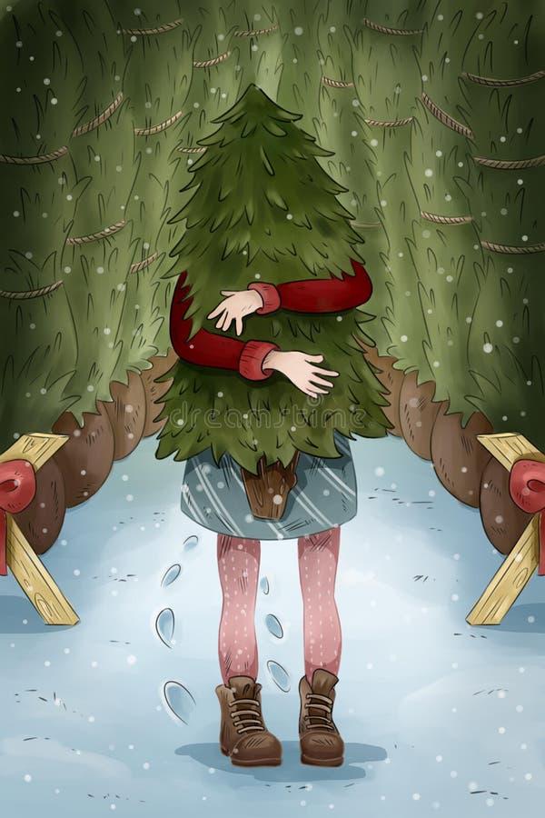 Открытка рождества Покупки девушки для иллюстрации рождественской елки иллюстрация штока