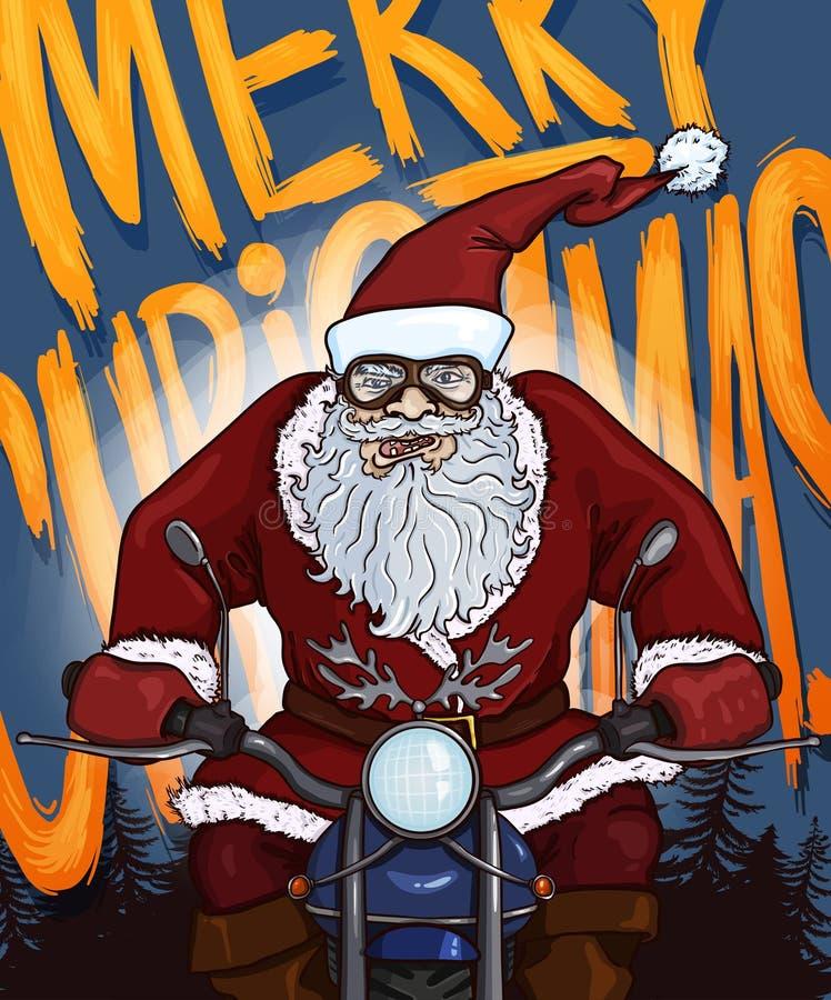 Открытка рождества шаржа вектора - Санта Клаус на мотоцикле иллюстрация вектора