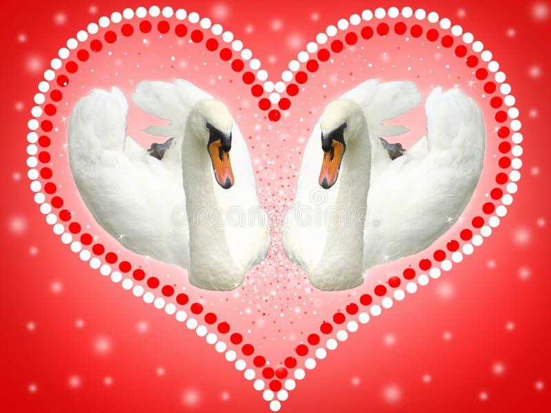 Открытка с 2 белыми лебедями бесплатная иллюстрация