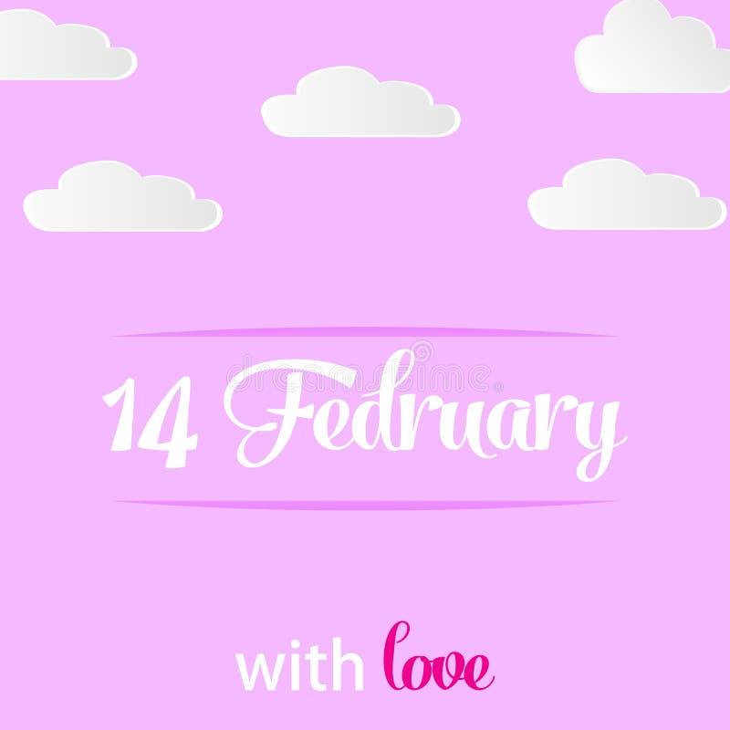 Открытка с днем Валентайн на розовой предпосылке с бумажными облаками Счастливый день Валентайн Романтичные праздники 14-ое иллюстрация вектора