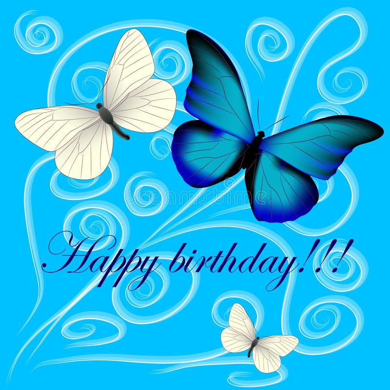 Открытка с с днем рождениями, 3 бабочки на задней части сини иллюстрация штока