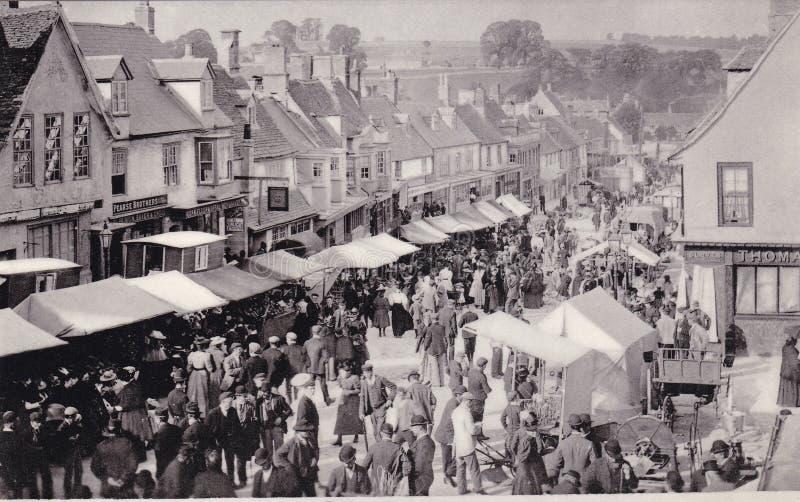 Открытка фото ярмарки рабочего места Burford, Оксфордшира, c 1895 стоковые фото