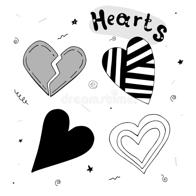Cartoon simple set of cute hearts with an inscription and decorative elements. romance. stock illustration