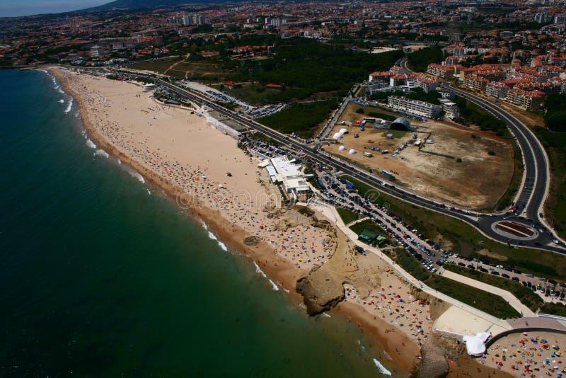 открытка os carcavelos пляжа стоковая фотография rf