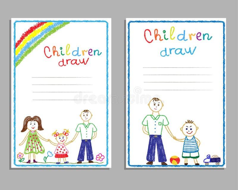 Открытки с чертежами семьей детей, мамой, папой, детьми, с солнцем и радугой иллюстрация вектора