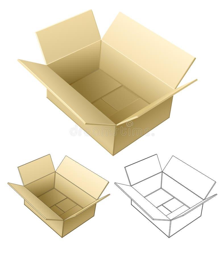 открытое коробки изолированное картоном иллюстрация вектора