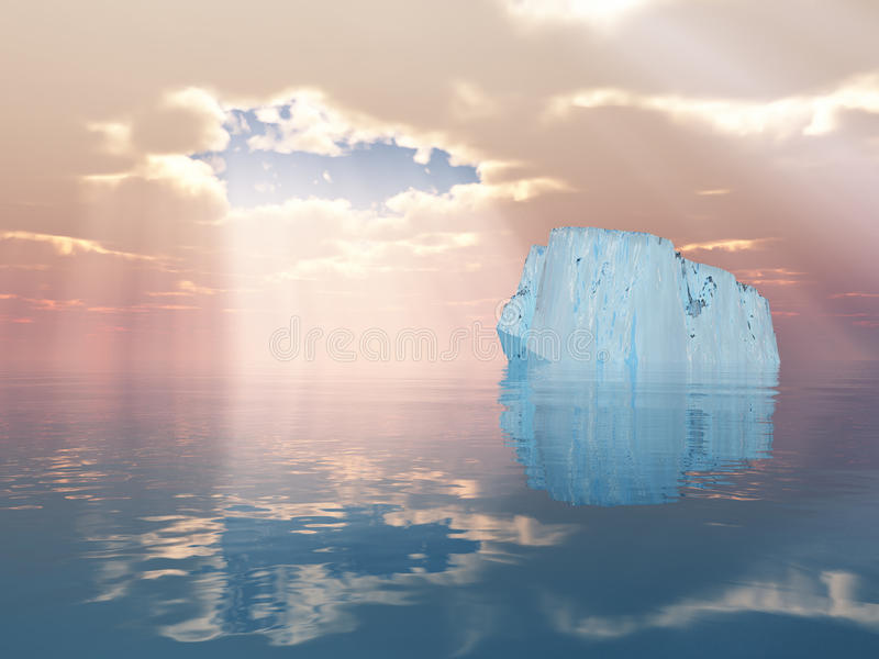 открытое море айсберга иллюстрация вектора