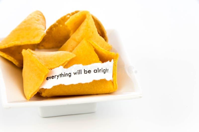 Открытое печенье с предсказанием - ВСЕ будет ALRIGHT стоковое фото rf