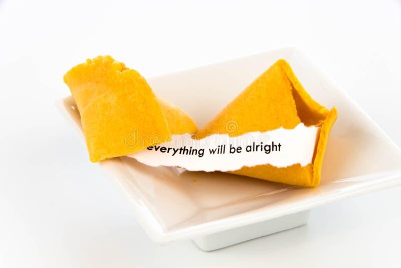 Открытое печенье с предсказанием - ВСЕ будет ALRIGHT стоковые фотографии rf