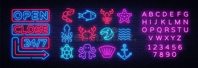 Набор значков морепродуктов Неоновые вывески собрания морепродуктов Открытые близкие яркие шильдики, светлое знамя Неоновый изоли иллюстрация вектора