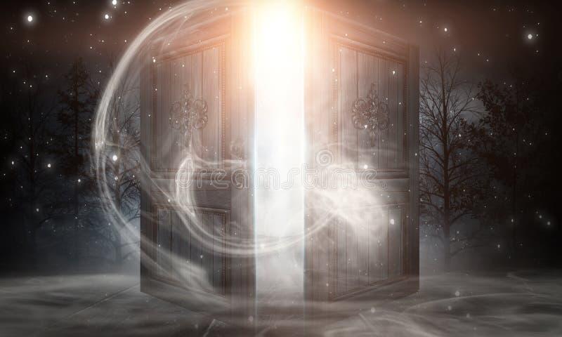 Открытые двери Абстрактный огонь Ночной вид, волшебная фантазия, дым, смог, неон иллюстрация штока