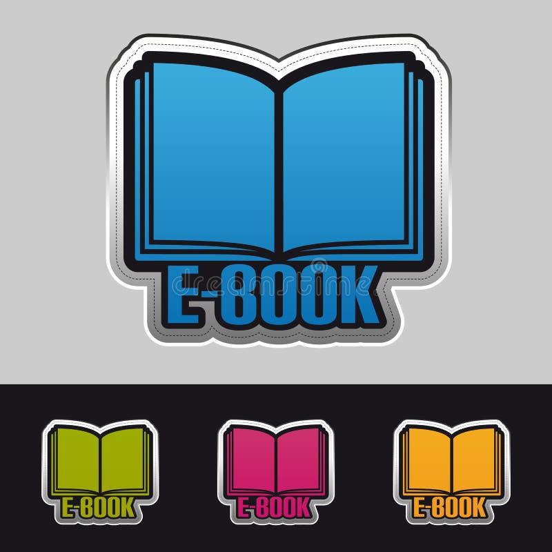 Открытые значки стикера EBook - красочная иллюстрация вектора - изолированные на сером цвете и черной предпосылке иллюстрация вектора