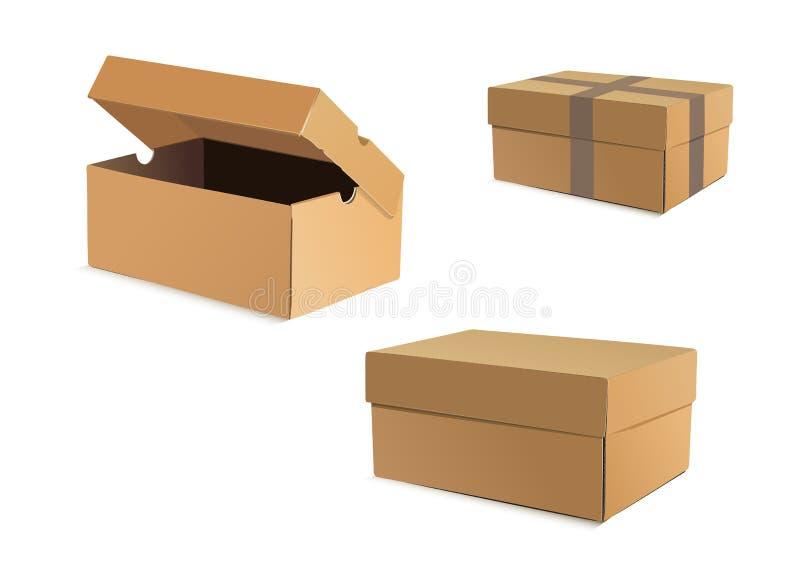 Открытые и закрытые картонные коробки иллюстрация вектора