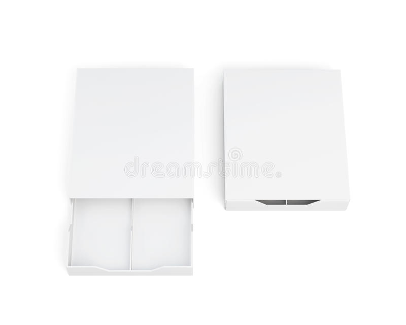 Открытые и закрытые коробки изолированные на белой предпосылке 3d представляют im иллюстрация штока