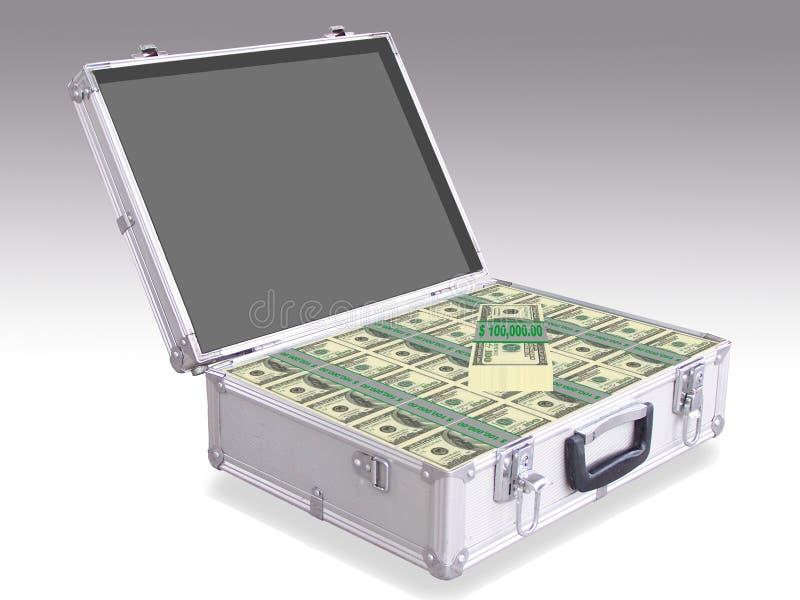 Открытый алюминиевый чемодан вполне аппетитных американских долларов иллюстрация штока