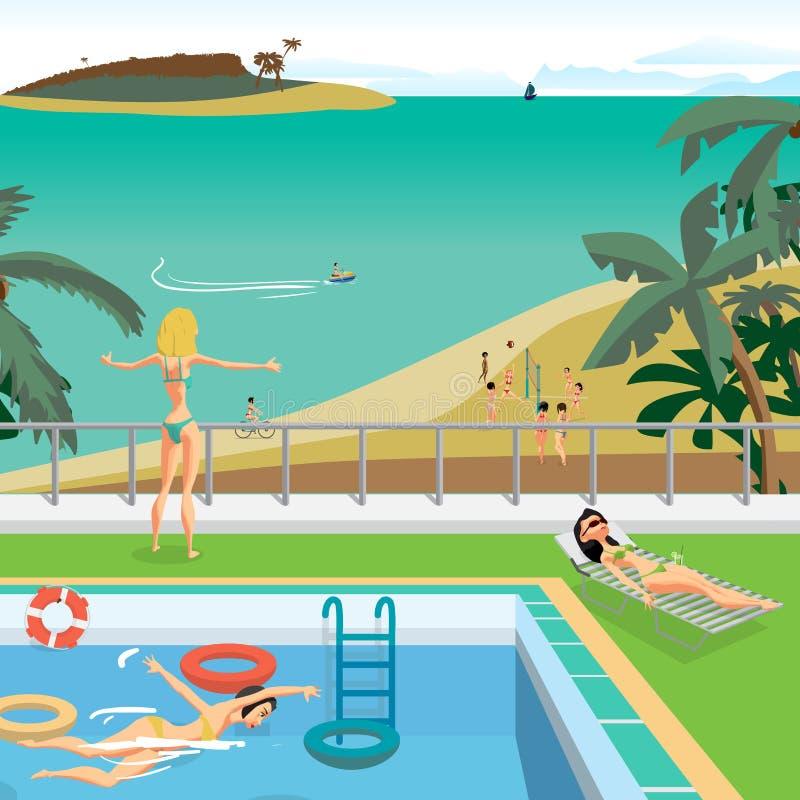 Открытый бассейн на пляже в тропиках иллюстрация вектора